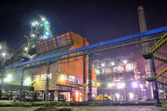 Steel plant at night royalty free stock image