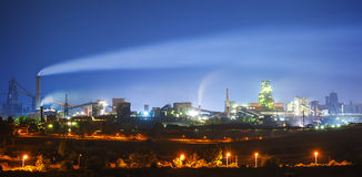 Steel plant. At night, Galati, Romania Royalty Free Stock Photos