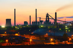 Steel plant at night Royalty Free Stock Images