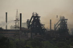 Steel Plant pollution. Heavy gases and Steam flows out from chimneys at Rourkela Steel Plant, India Stock Images