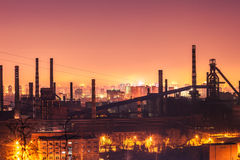 Steel plant in silhouette image at night Royalty Free Stock Image