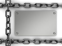 Steel plate and chains Stock Photography