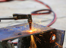 Steel plate cutting Royalty Free Stock Image