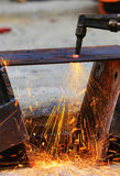 Steel plate cutting Royalty Free Stock Photography