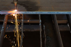 Steel plate cutting Stock Image
