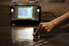 Steel plate inspection by ultrasonic Stock Photos