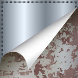Steel plate under old surface Royalty Free Stock Photos