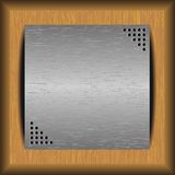 Steel plate on a wooden background. Steel plate on wooden boards for your text royalty free illustration
