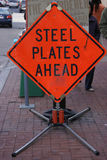 Steel Plates Ahead Royalty Free Stock Image