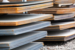 Steel plates at construction Royalty Free Stock Photos
