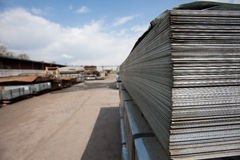 Steel plates at construction Stock Photos