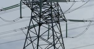 Steel pole of high voltage transmission line stock video footage