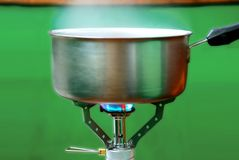 Steel pot on a gas Royalty Free Stock Image