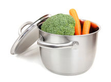 Steel pot isolated with vegetables Stock Images