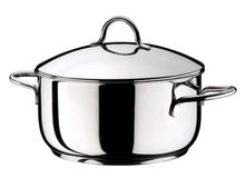 Steel Pot with Lid Stock Photo