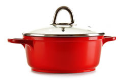 Steel pot on white background Stock Images
