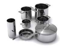 Steel pots and pans Stock Photography