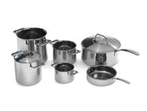Steel pots and pans Stock Photo
