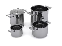 Steel pots and pans Royalty Free Stock Images