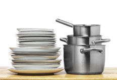 Steel pots with plates Royalty Free Stock Photography