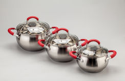 Steel pots Royalty Free Stock Image