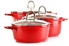 Steel pots on white background Royalty Free Stock Images