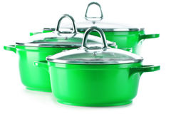 Steel pots on white background Stock Images