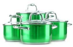 Steel pots  on white background Stock Photos