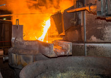 Steel pouring Stock Images