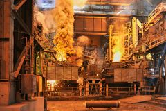 Steel preparation in ladle furnace. Production of the steel in the arc of the ladle furnace Royalty Free Stock Image