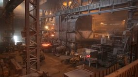 Steel production in electric furnaces. Huge ironworks. stock video
