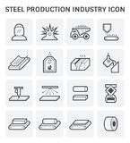 Steel production icon. Steel and metal production industry or metallurgy vector icon set design Stock Images