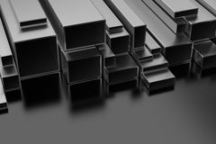 Steel Profiles. On black background Royalty Free Stock Images