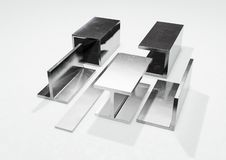 Steel profiles 3d illustration. Steel profiles for structural uses in buildings and other civil engineering works 3d illustration royalty free illustration