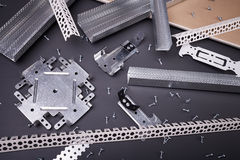 Steel profiles and fixing plasterboard Stock Photography