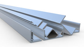 Steel Profiles  on white Royalty Free Stock Images