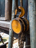 Steel pulley Stock Photos