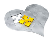 Steel puzzle pieces In the form of heart Royalty Free Stock Images