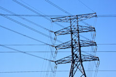 Steel Pylon with Criss Cross Electric Power Cables Stock Photo