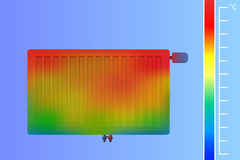 Steel radiator on the wall. Colored thermographic image. Stock Image