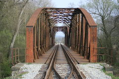 Steel rail bridge. Old rotten steel rail bridge Stock Image