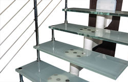 Steel rail stairs Stock Image