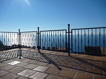 Steel railing at the terrace by the sea Royalty Free Stock Photo