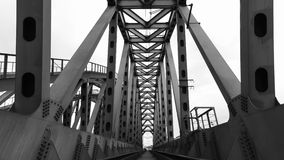 Steel railroad bridge. In black and white Royalty Free Stock Photo