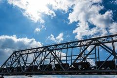 Steel railroad bridge Stock Images