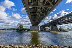 Steel railroad bridge Royalty Free Stock Image