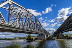 Steel railroad bridge Stock Photography