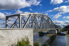 Steel railroad bridge Stock Photos