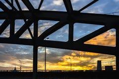 Steel railroad bridge at sundown Royalty Free Stock Images