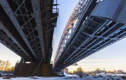 Steel railroad bridge at sundown Stock Photo